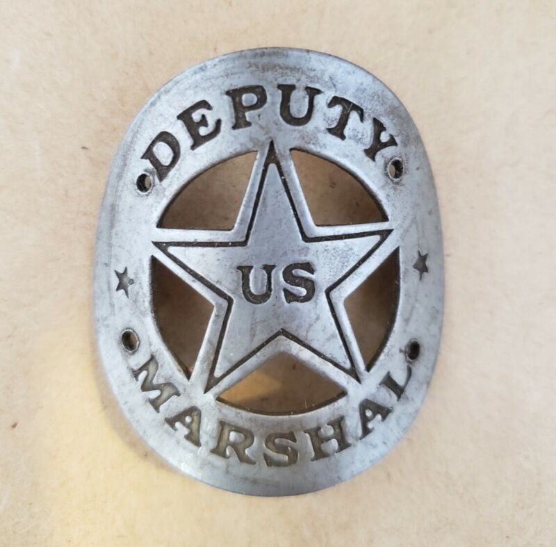 Deputy US Marshal solid brass gun grip tag western butt plate