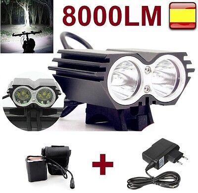 Linterna para bicicleta foco luz recargable de 8000LM 2 x CREE XM-L...