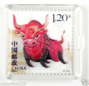 China-New-Year-Stamp-Made-by-Real-Shell-Carving-2009-Cattle-Year