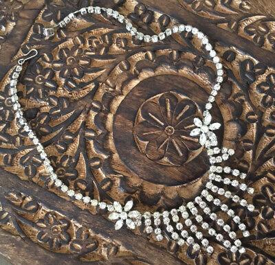 60s -70s Jewelry – Necklaces, Earrings, Rings, Bracelets Beautiful Vintage Diamanté Necklace 1960s $58.64 AT vintagedancer.com