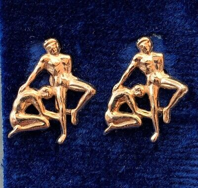 VINTAGE GEMINI EARRINGS TWINS CLIP BACK GOLD TONE METAL ASTROLOGY JEWELRY NOS