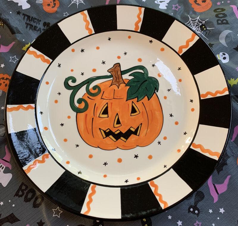 """Mary Engelbreit Pumpkin Halloween Candy Bowl Round Plate 13.5"""" Platter"""