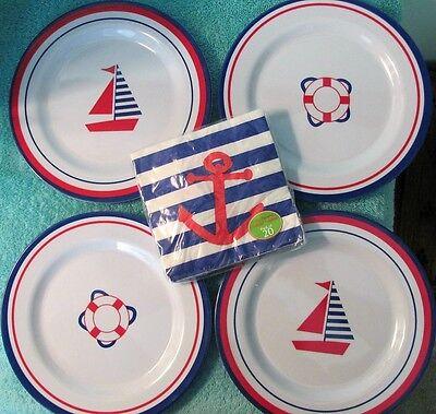 NEW Set of 4 Nautical Luncheon Plates & Napkins, Red White & Blue, Melamine