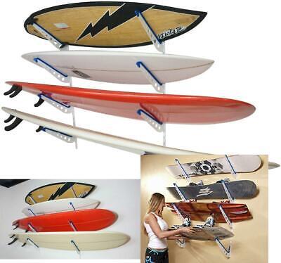 Surfboard Storage Rack Adjustable Home Wall Mount 4 Surfs Stand Holder Wakeboard