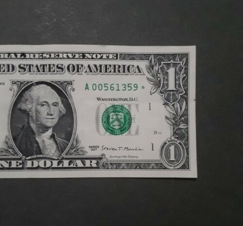 Low Serial 2017 1 Federal Reserve Replacement Star Note A 00561359  - $5.75