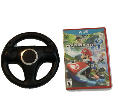 Mario Kart 8 (Nintendo Wii U, 2014) COMPLETE !!! With Black Wii Wheel