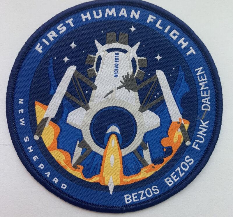 """Official Blue Origin First Human Flight Patch New Shephard, Bezos 3.5"""""""
