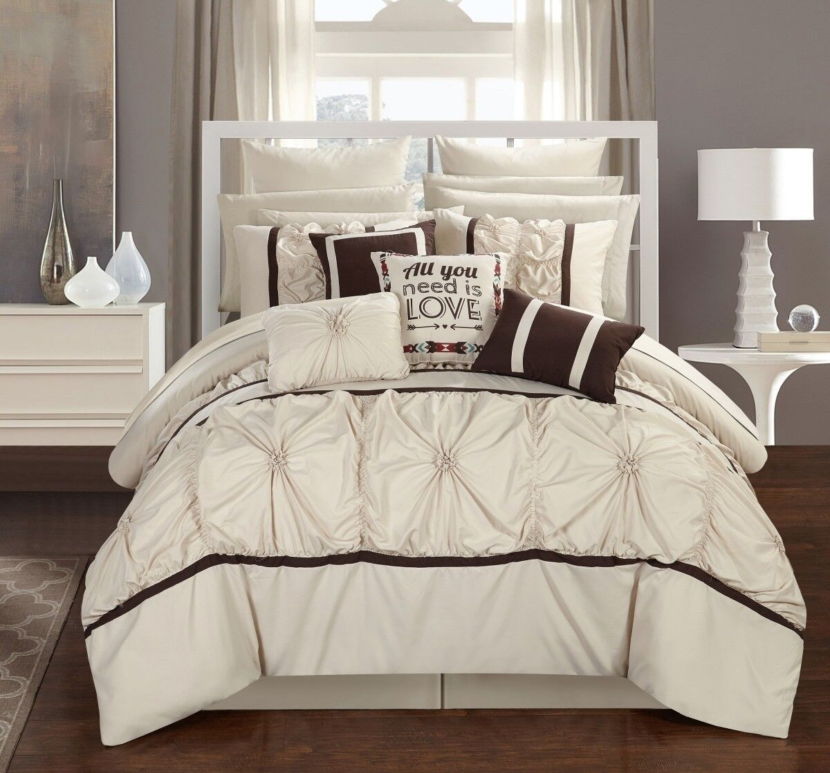 Chic Home CS2755-US Ashville King Size Comforter Set Beige -