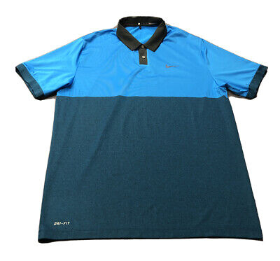 Nike Tiger Woods Collection Dri-Fit Golf Shirt Polo (L, Blue, Colorblock)(M5)