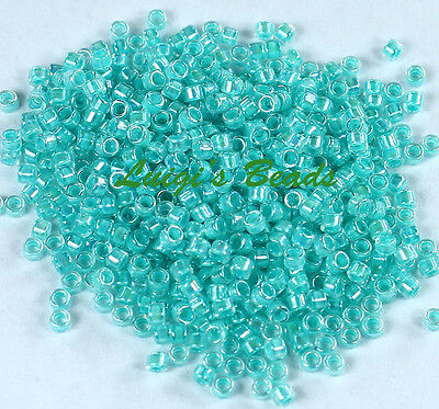 (11/0 TOHO Treasures Glass Seed Beads #793- Rainbow Crystal/Pale Turquoise Lined)
