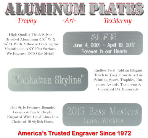 """3/4"""" X 2 1/2"""" Custom Engraved Aluminum ID Name Plates Art Trophy Taxidermy Gifts"""