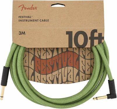 Fender Festival Hemp 10ft Angled Instrument Cable - Green