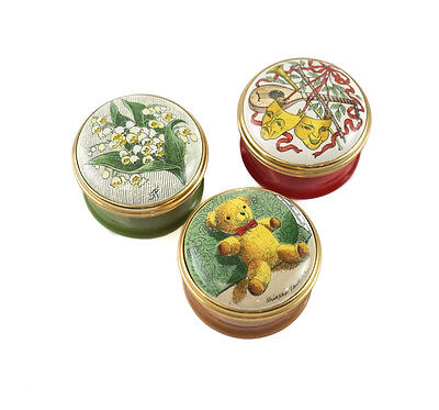 Group Of 3 Halcyon Days Enamels Pill Snuff Trinket Boxes   Screw Top Lids