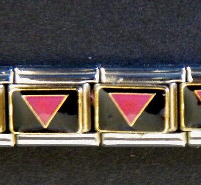PINK PRAYMID BI GAY RIGHTS PRIDE ENAMEL ITALIAN MODULAR CHARM, 9mm, Single Link
