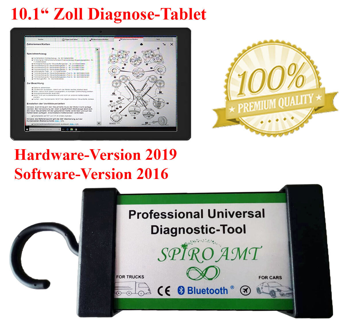 OBD-Adapterkabelset mit Bluetooth /& USB SPIRO AMT Profi KFZ DIAGNOSEGER/ÄT Gold f/ür PKW /& LKW bis BJ 2016 OBD2