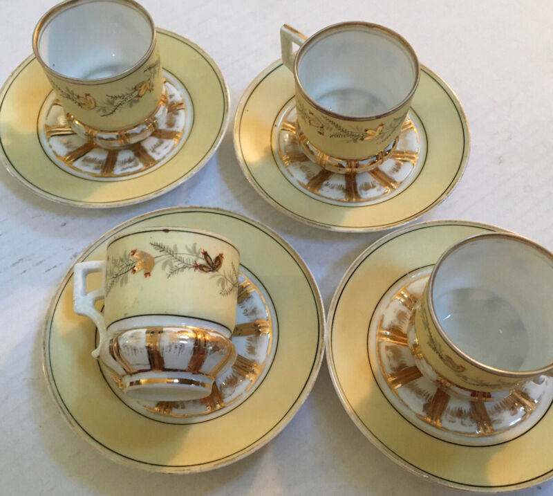 Soft Yellow & Gold - Vintage 8 Piece Demitasse Cup Saucer Set Numbered # 153