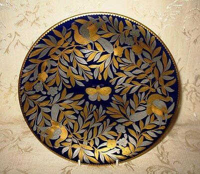 Antique Royal Crown Derby Cabinet Plate, 1881 Birds & Butterflies Pattern