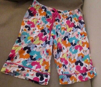 Disney Luxe Rainbow Mickey Mouse Shorts PJ's Pajamas Pants Sz Small - Disney Luxe Pajamas
