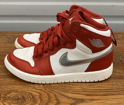 Retro Air Jordan 1 Youth Size 11c White Red 705303-602 Sneakers Kids UK 13.5