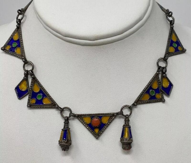 RARE Incredible Vintage Moroccan Berber Silver Enamel Coral Festoon Necklace