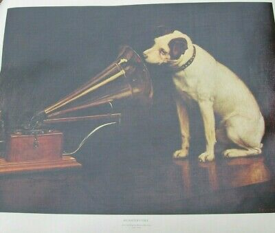 """VICTOR Phonograph """"HIS MASTER""""S VOICE"""" Nipper Dog Barraud 19 x 24 Print Poster"""