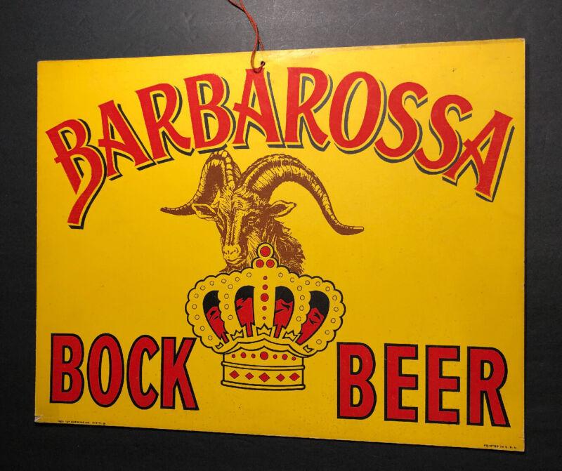 Barbarossa Bock Beer Cardboard Sign Red Top Cincinnati Ohio 1940s Goat
