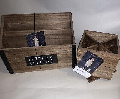 Rae Dunn Organize Desk Wooden Letter Holder Spinning Penpencil Holder Set New