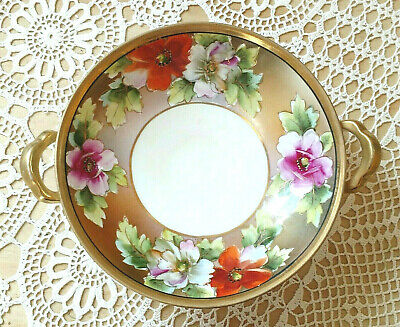 Made In Japan Noritake China Floral Lemon Plate Serving Plate Antique 1920s Blue Orange Gold Flowers Hand Painted Dish