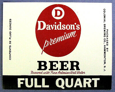 Colonial Brewing DAVIDSON'S PREMIUM BEER  label NJ  Full Quart