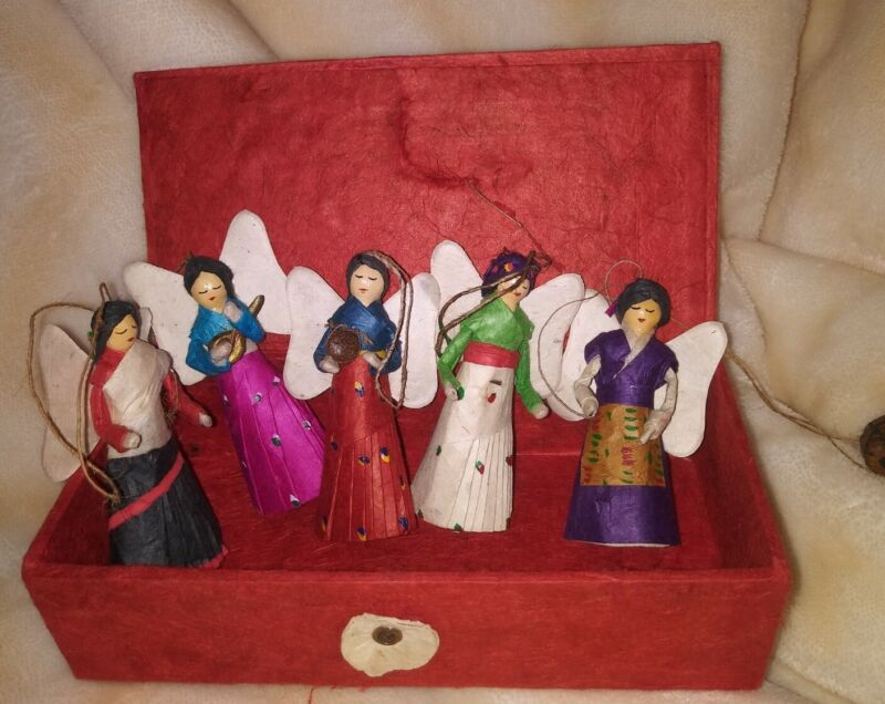 Ten Thousand Villages Box of Paper Angel Christmas Decor Ornaments Made in Nepal