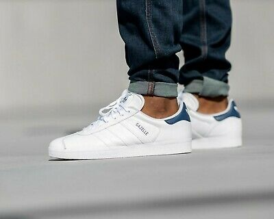 BNWB & Genuine Adidas Originals ® Gazelle White Blue Leather Trainers UK Size 10