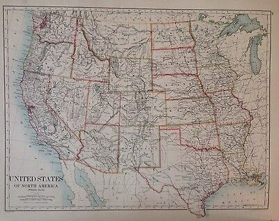 United States Of America- Canada (Eastern) Antique Map 1891 Large 2 Sided Atlas