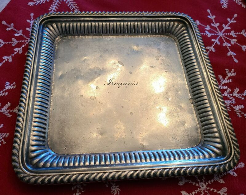 """The Iroquois Hotel NYC Silver 8"""" Tray by Gorham Silver Co Circa 1906"""