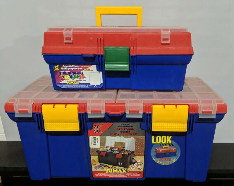 "Set of 2 - Rimax Built-In Organizer 20"" Storage Box and 14"" Craft Box Vintage"