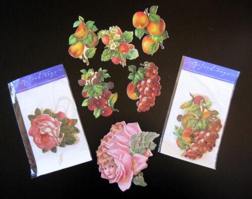 19 DIE-CUT 1986 GIFT TAGS Flowers Fruits Girl VTG John GROSSMAN Gifted Line NOS