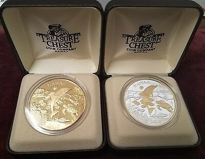 2016 Hawaii Dolphin Medal 2 Piece Set Silver & GP, Bronze Treasure Chest PF