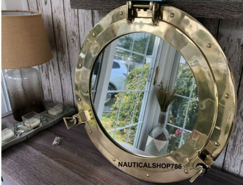 Nautical Brass Porthole Nautical Maritime Ship Boat Wall Mirror Home Decor 50 cm