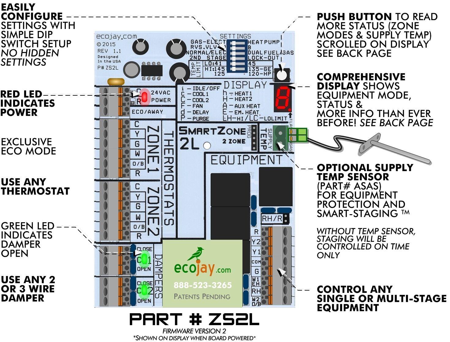 Universal 2 Zone Controler Smartzone 2l Best Value Hvac Zoning Trane American Standard Furnace Control Circuit Board 50a51 495 Ebay Damper