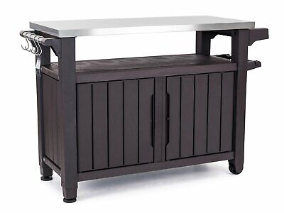 Serving Station Table Grill Cart Prep Outdoor Entertainment BBQ Storage Patio XL