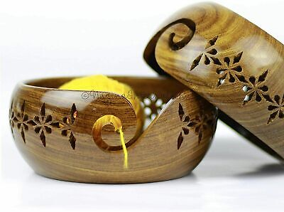 Crafted Rosewood Wooden Yarn Storage Bowl with Carved Holes & Drills | Knitting