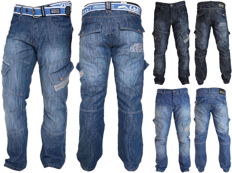 342dc506fc Mens Crosshatch Combat Cargo Jeans Denim Trousers Stone Dark or Light Wash  - New