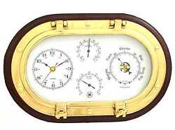 Lacquered Brass Oval Porthole Quartz Clock, Barometer Thermometer and Hygrometer