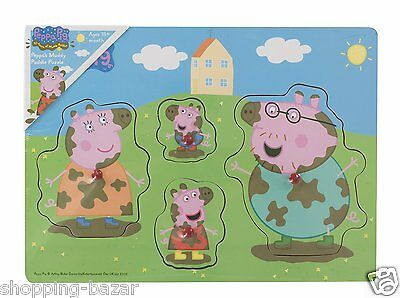 Peppa Pig Muddy Puddle Puzzle Baby Educational Wooden Jigsaw Peg Toddler Toys