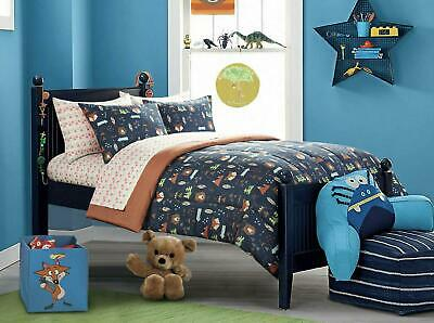 5 Piece Bed In A Bag Bedding Set Woodland Safari Kids Comforter Twin Size Blue
