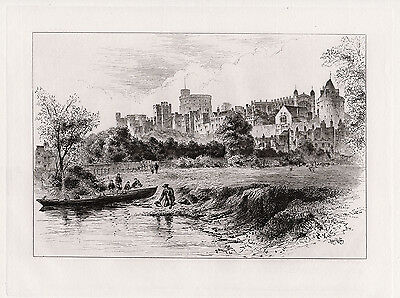 1800S Railton Original Etching  Windsor From Berkshire River Bank  Signed Coa