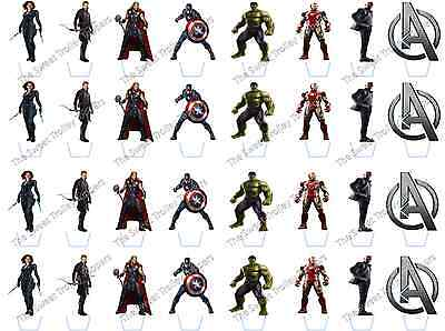 uperhero Stand Up Edible Rice Wafer Paper Cupcake Toppers (Avengers Cupcake Stand)