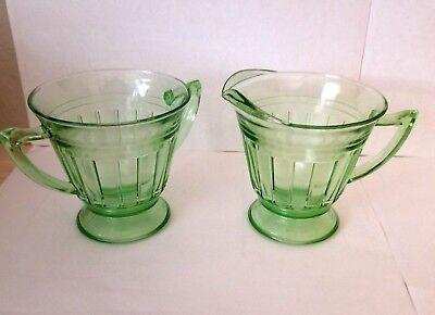 Hazel Atlas New Century Lydia Ray Green Glass Sugar and Creamer Set