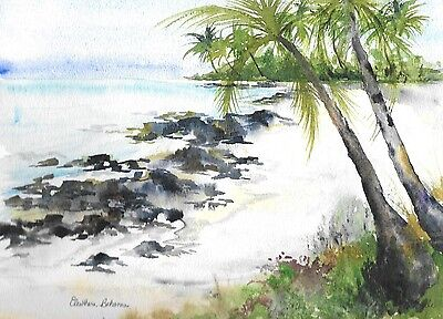 Eleuthera, Bahamas beach scene with pam trees and turquois waters, coral ()