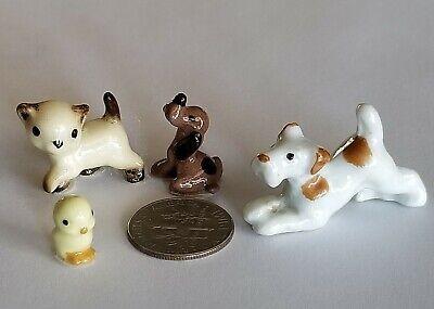 Lot of 4 Miniature Porcelain Cat Dogs Chick Mid Century Vintage Hagen Renaker