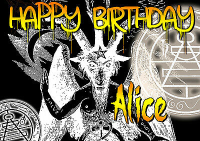 Happy Birthday / Halloween SATAN death metal Goat of  Mendes PERSONALISED Card